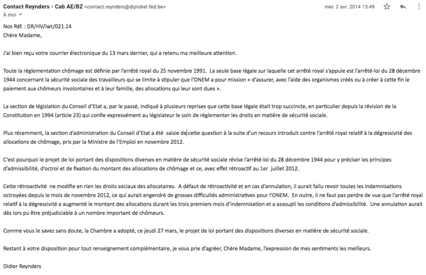 Cabinet Reynders consolidation retroactivite degressivite